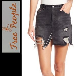 Free People Relaxed & Destroyed Denim Skirt 28